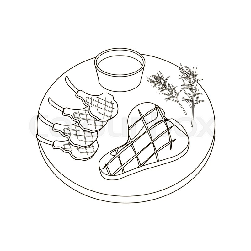 Steak Meat Coloring Pages On The White Stock Vector Colourbox