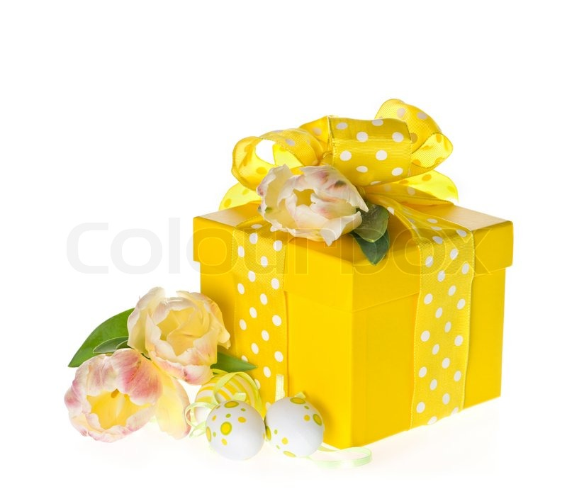 Gift box with fresh tulips and easter eggs decoration over white gift box with fresh tulips and easter eggs decoration over white background stock photo negle Image collections