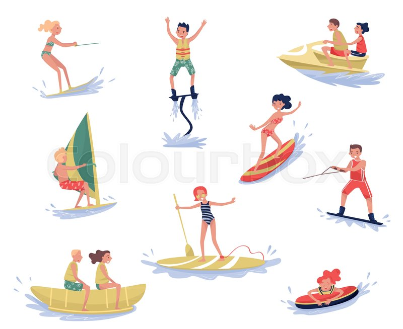 Extreme water sports set, waterski, flyboarding, windsurfing, surfing, paddleboarding, wakeboarding water sport activities cartoon vector Illustrations isolated on a white background, vector