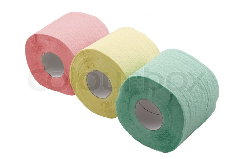 three rolls of toilet paper with different color stock