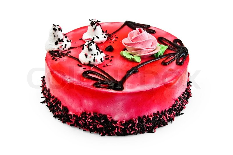 Red Jelly Cake Recipe: Cake With Red Jelly And A Pattern From Chocolate Icing
