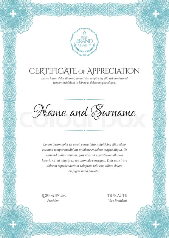 Certificate Template Frame For Design Diploma Or Gift Certificate