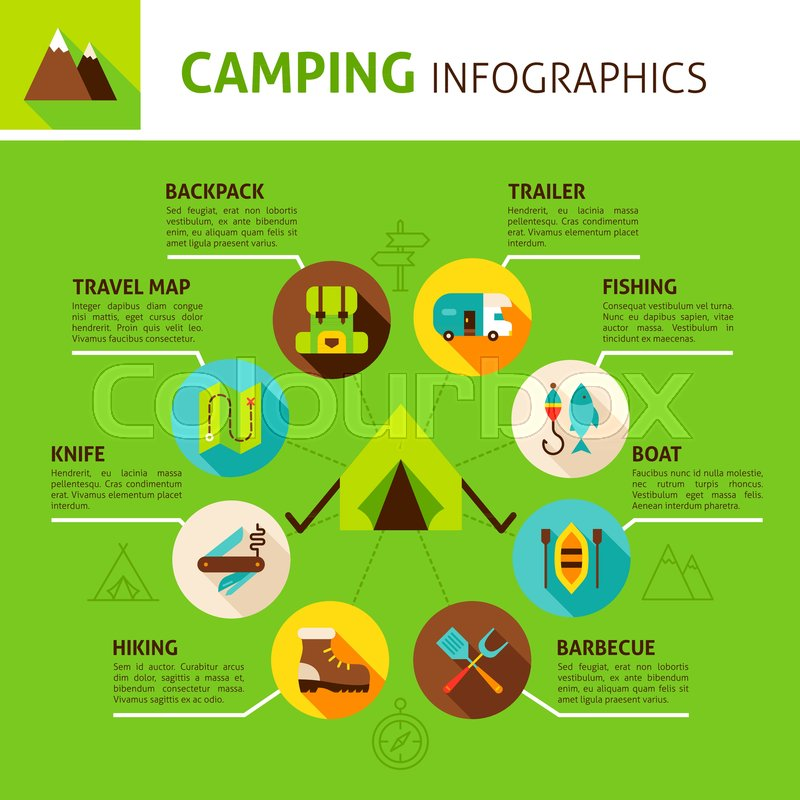 Camping Concept Infographics  Flat     | Stock vector | Colourbox