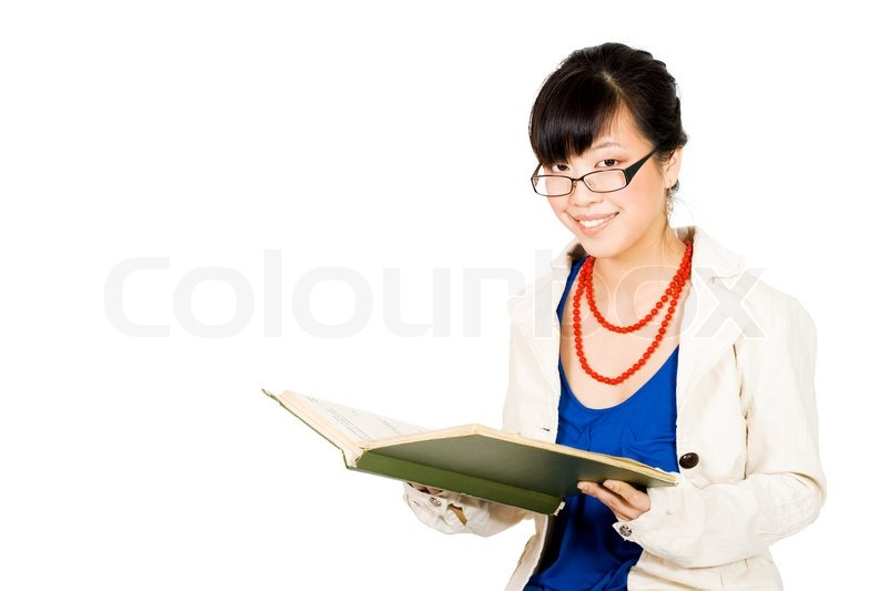 Asian Business Woman In Glasses Reading   Stock Photo -3041