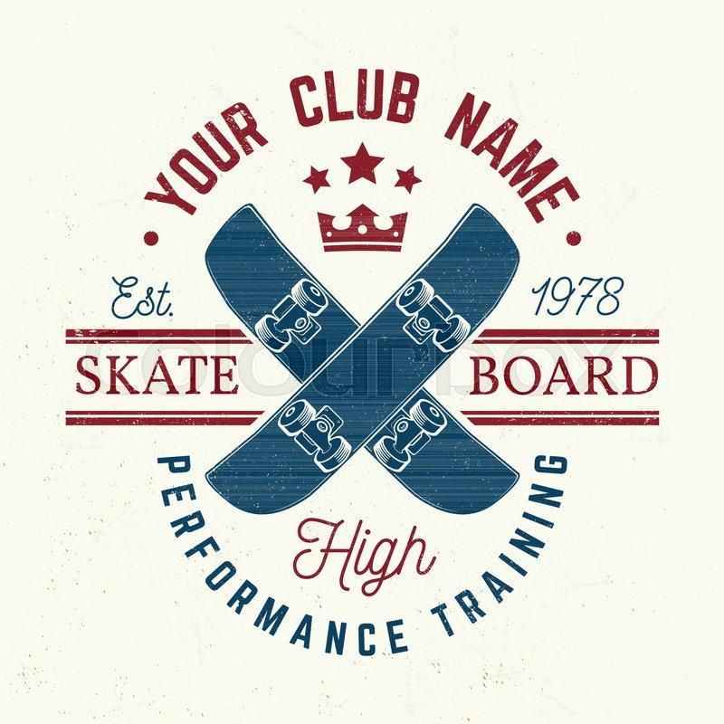 Skateboard club badge. Vector illustration. For skate club emblems, signs and t-shirt design. Skateboard typography design with skateboards and helmet. Extreme sport, vector
