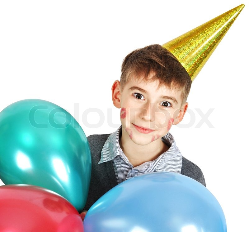 Happy Boy In Birthday Hat With Balloons
