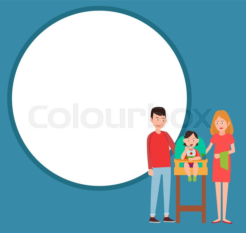 Infant child eating from bowl in baby chair, mother and father proud ...