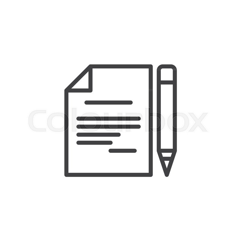 pen and paper outline icon linear style sign for mobile concept and