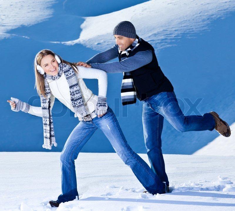 Happy Couple Having Fun, Running ...