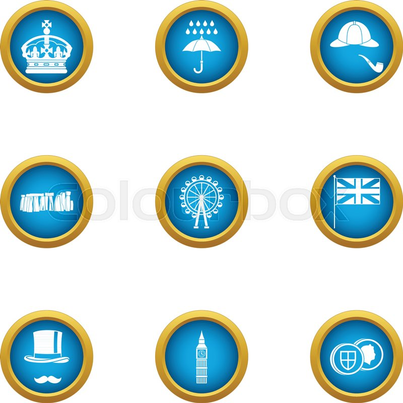island of great britain icons set flat set of 9 island of great