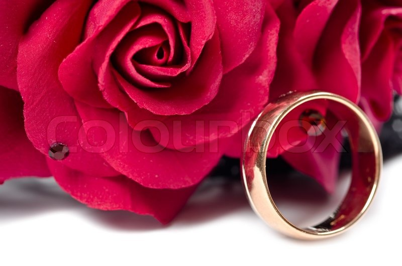Image Ring With FlowersStock Golden Red Colourbox A4jL35qR