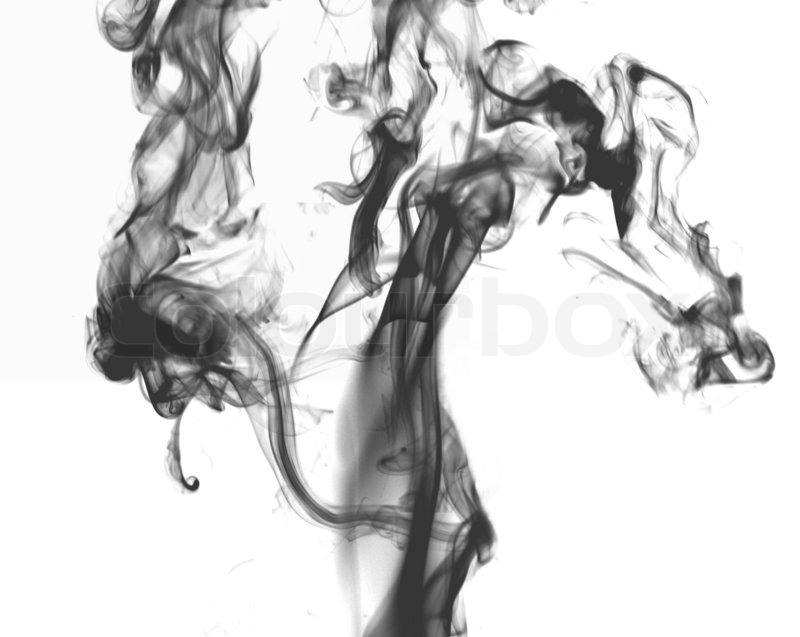 Black smoke on the white background | Stock Photo | Colourbox