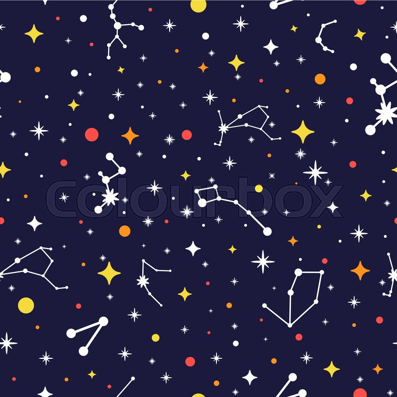 Galaxy Seamless Pattern Bright Space Background Color