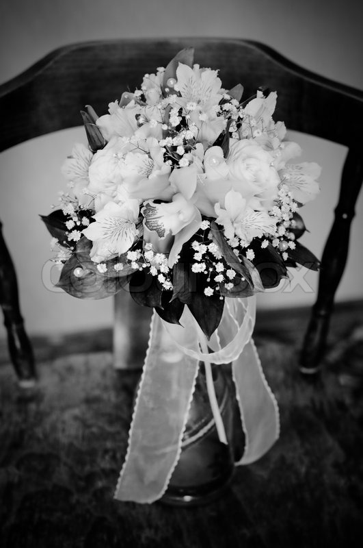 Black And White Photo Of Wedding Bouquet