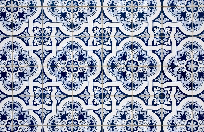 Blue pattern detail of Portuguese glazed ceramic tiles. | Stock ...