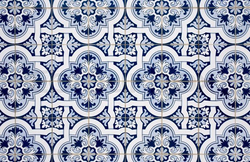 blaue muster detail des portugiesischen glasierte. Black Bedroom Furniture Sets. Home Design Ideas