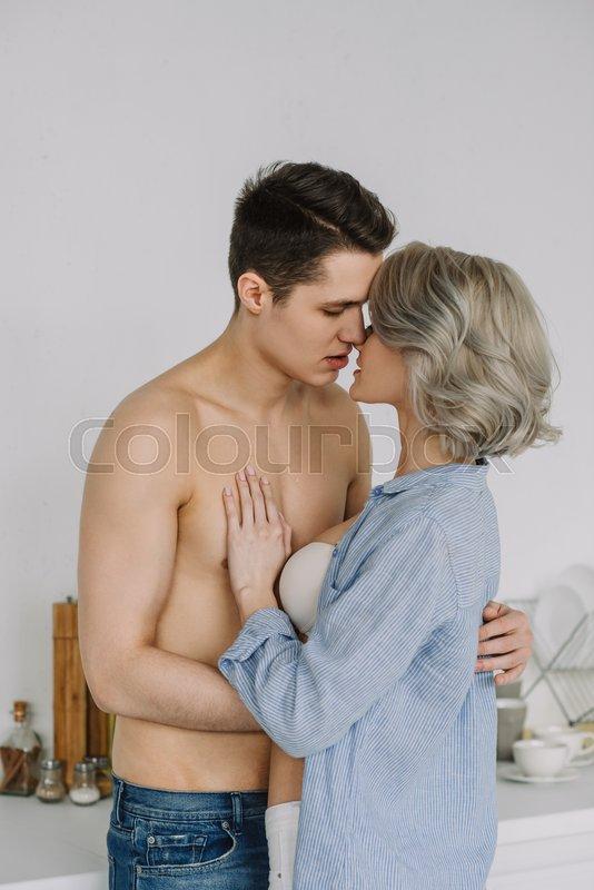 Seductive Half Naked Couple Kissing At   Stock Image -5162