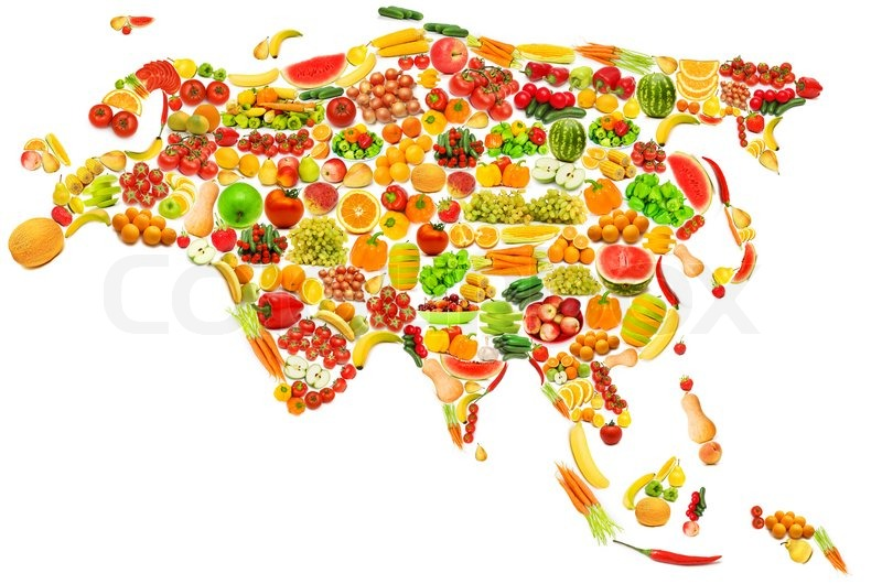 world map made of many fruits and vegetables stock photo colourbox