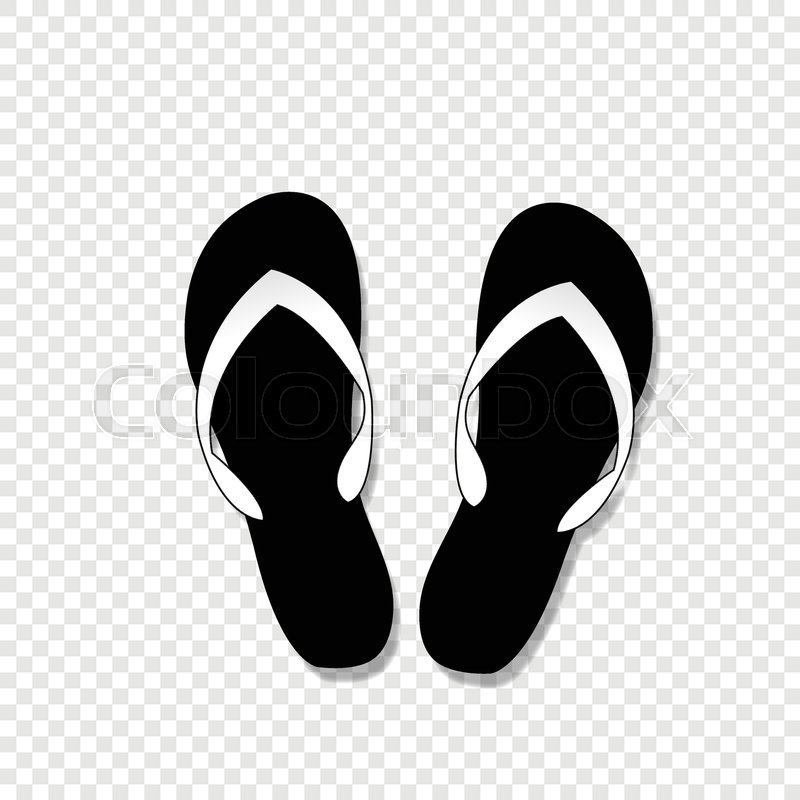0c79d508d Stock vector of  Vector black and white monochrome silhouette illustration  of flip-flops icon
