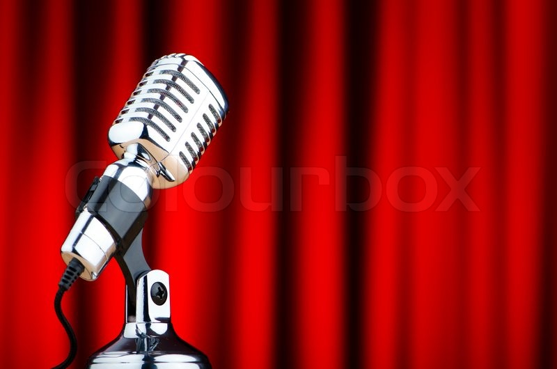 Retro Microphone Stage. Close Up Vintage Microphone On Stage. Old ...