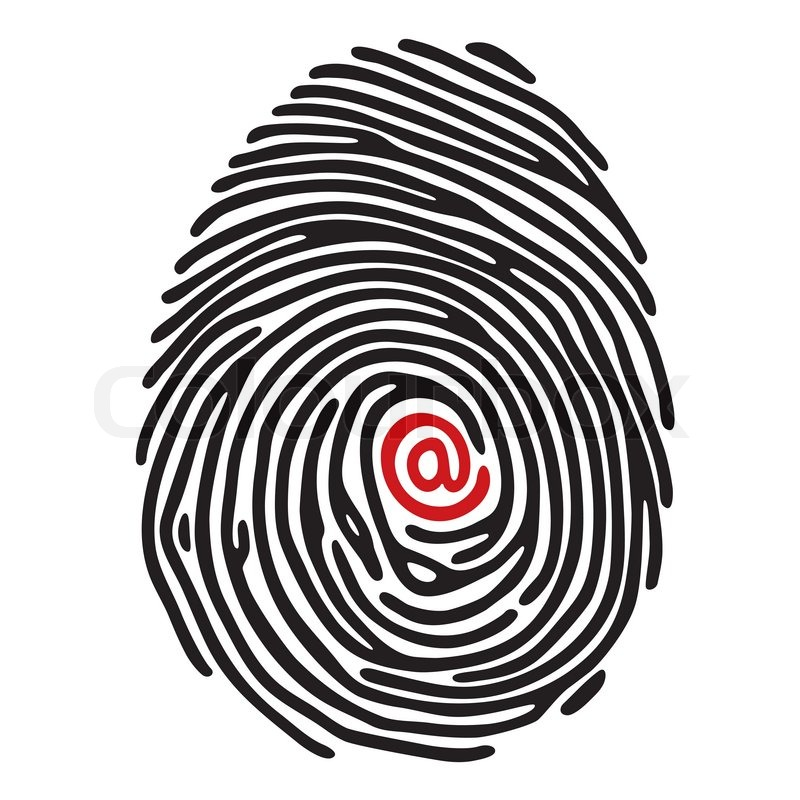 Stock vector of 'Finger print with @ sign'