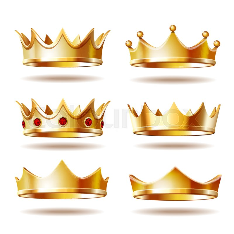 Set Of Golden Crowns For King Or Stock Vector Colourbox