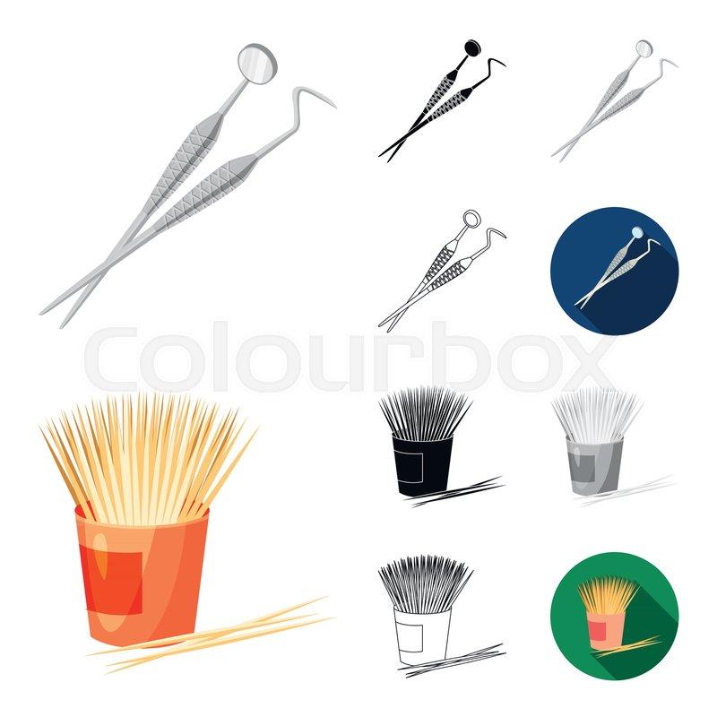 Dental Care Cartoonblackflatmonochromeoutline Icons In Set