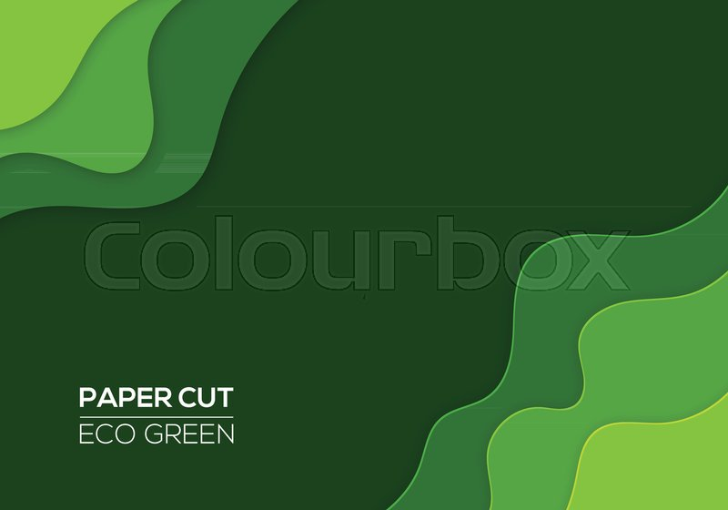 Modern 3d Paper Cut Art Template With Abstract Curve Shapes Green Color Eco Design Concept Background For Flyers Bunners Presentations And Posters