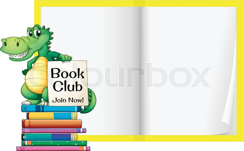 a blank book with crocodile template illustration stock vector