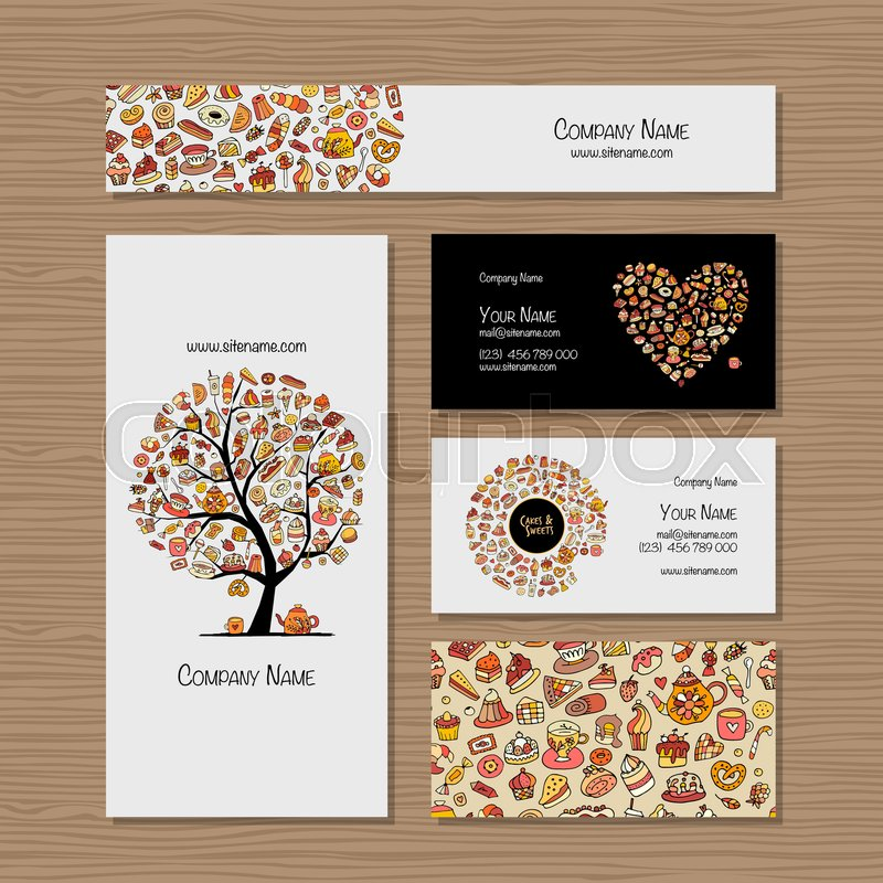Business cards, design idea for sweets ...   Stock vector ...