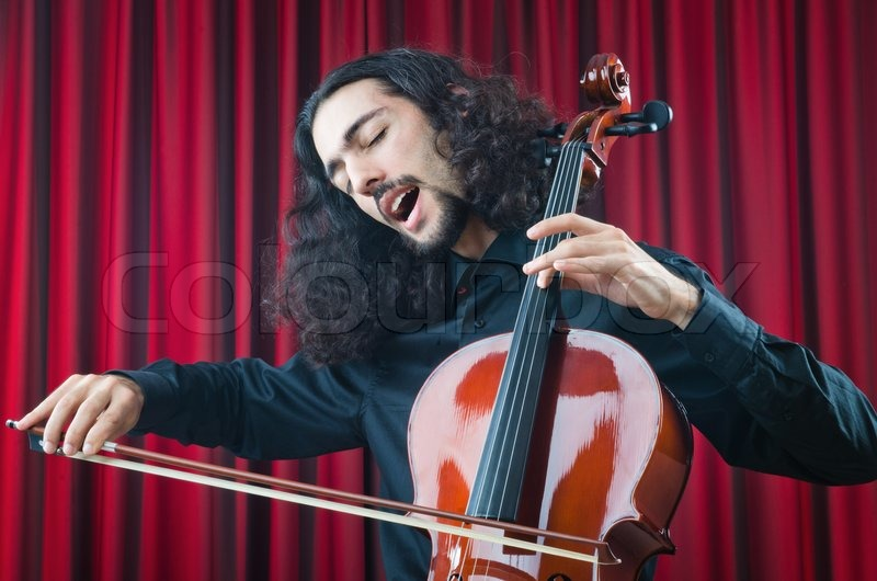 Stock image of 'Man playing the cello'