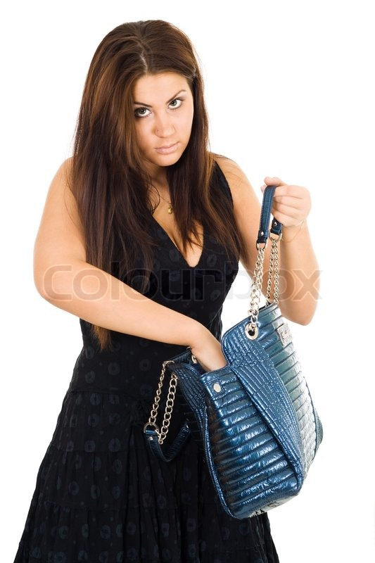 996d8de414b Stock image of 'Young woman with long hair looking something in her purse  with hand