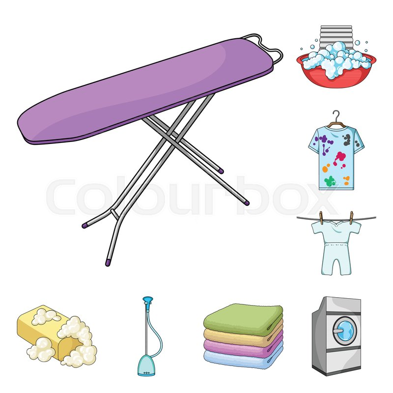 Dry Cleaning Equipment Cartoon Icons In Set Collection For Design