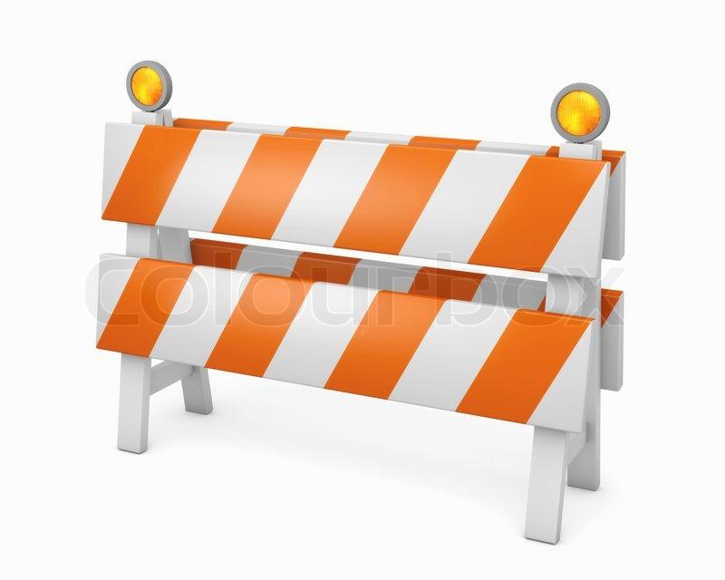 Simple orange road barrier stock photo colourbox