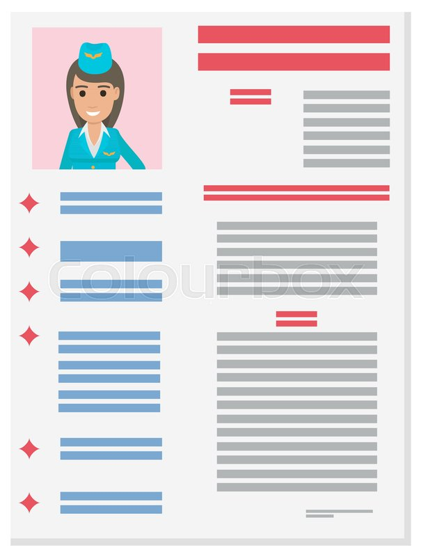 career information leaflet flat vector stewardess resume page with