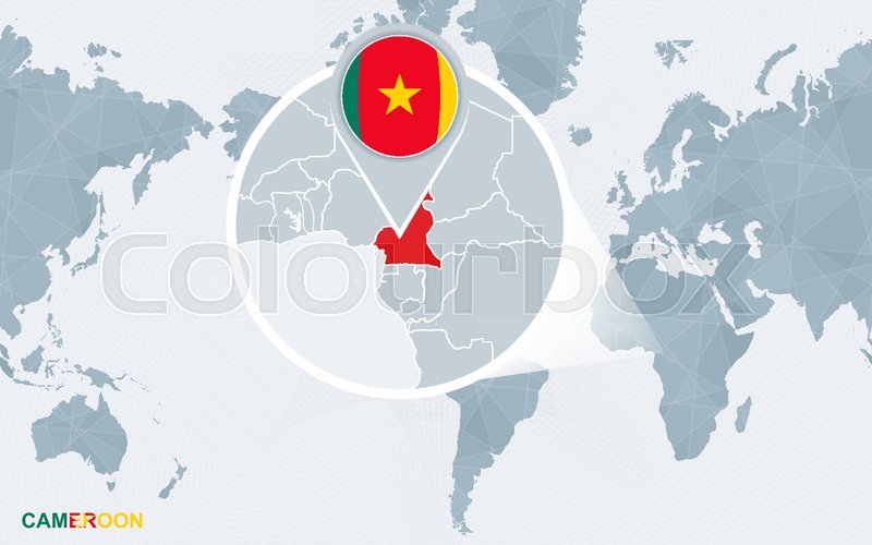 World map centered on America with magnified Cameroon. Blue flag and ...