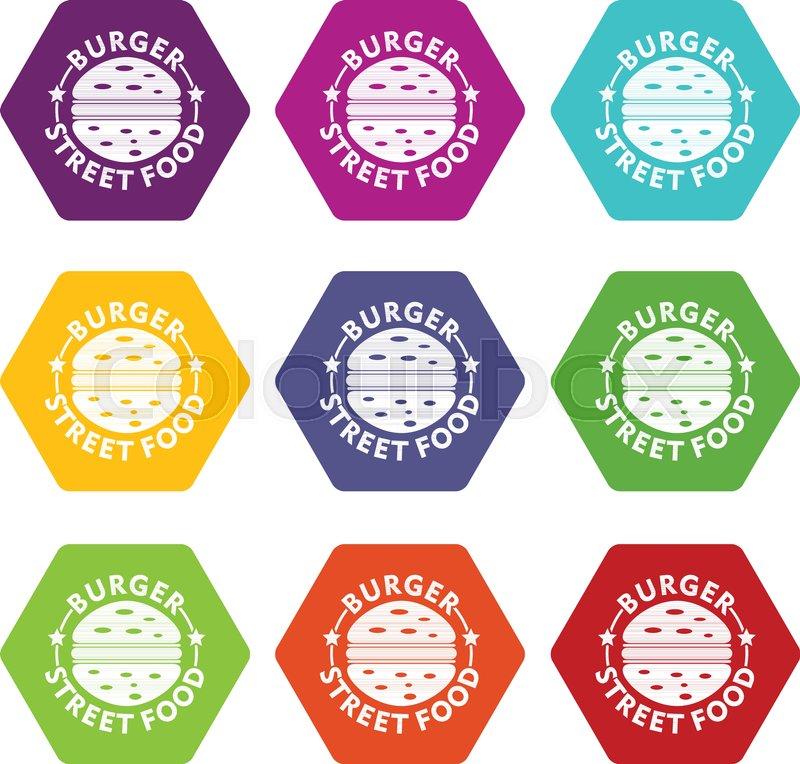 Burger street food icons 9 set coloful     | Stock vector