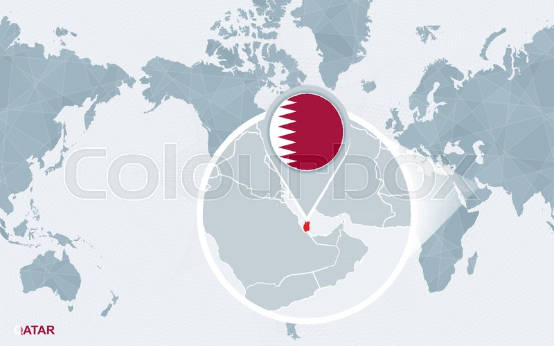 World map centered on Qatar with ...   Stock vector   Colourbox