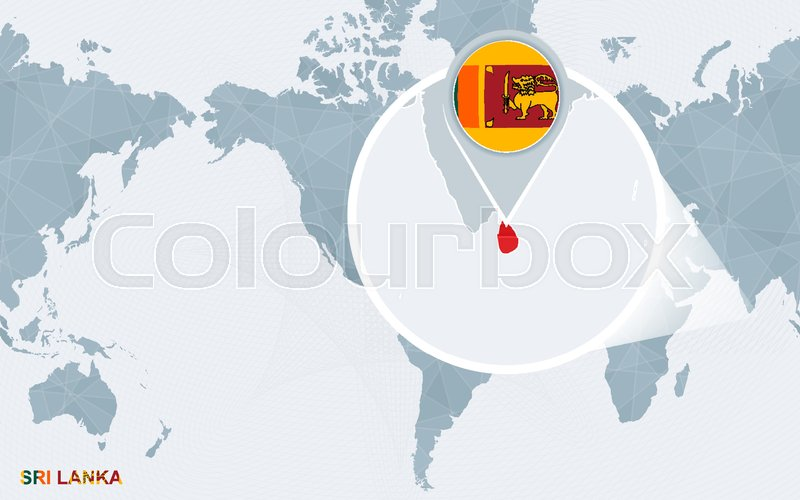 World map centered on America with magnified Sri Lanka. Blue flag ...