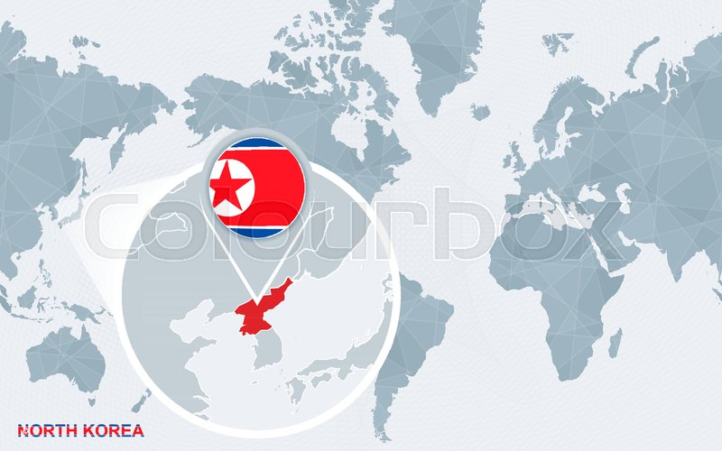 World map centered on America with magnified North Korea. Blue flag ...