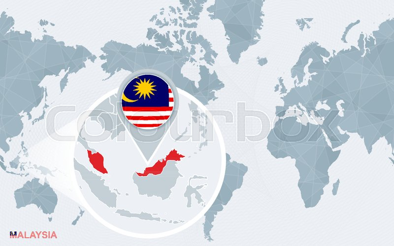 World map centered on America with magnified Malaysia. Blue flag and ...