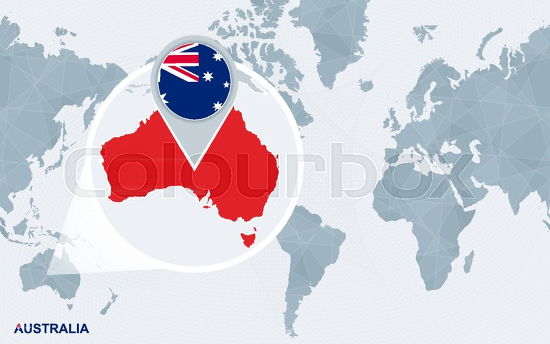 Australia And America Map.World Map Centered On America With Stock Vector Colourbox