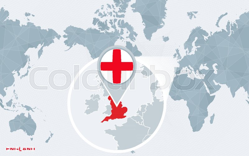 World map centered on america with magnified england blue flag and world map centered on america with magnified england blue flag and map of england abstract vector illustration stock vector colourbox gumiabroncs Choice Image