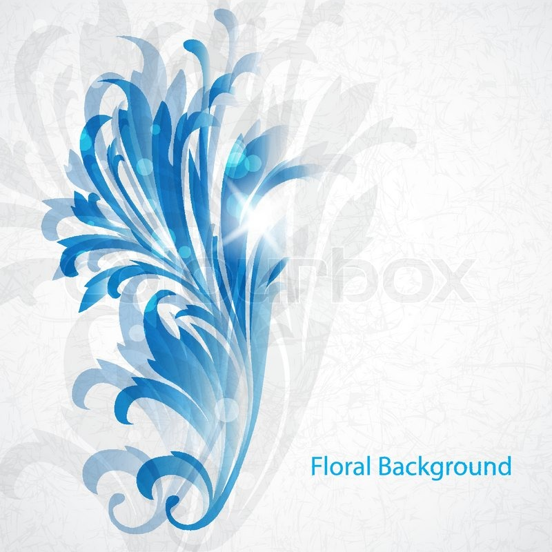 Vintage Blue Floral BackgroundVector Eps10