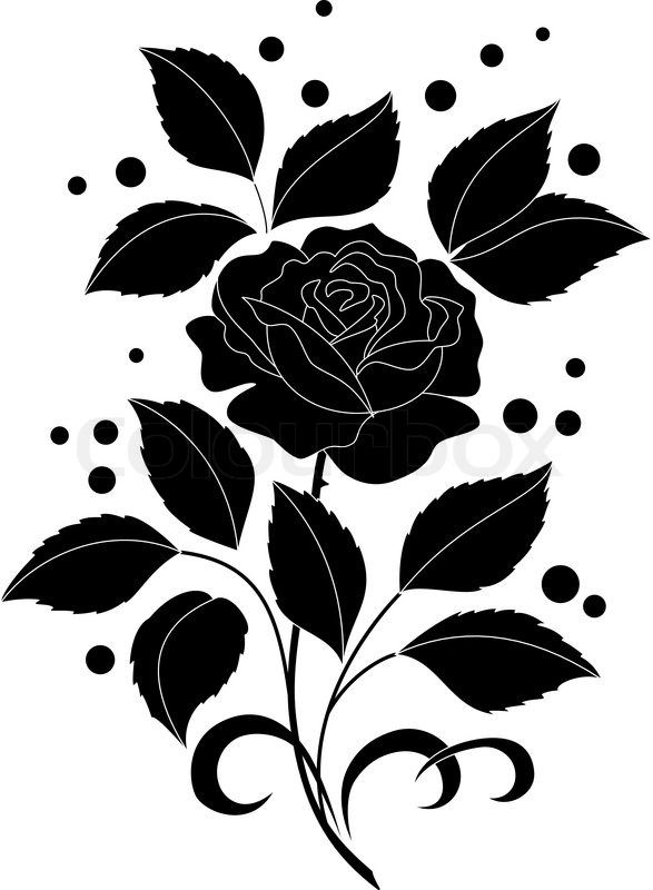 Flower rose with leaves and confetti black silhouettes on white flower rose with leaves and confetti black silhouettes on white background stock vector colourbox mightylinksfo