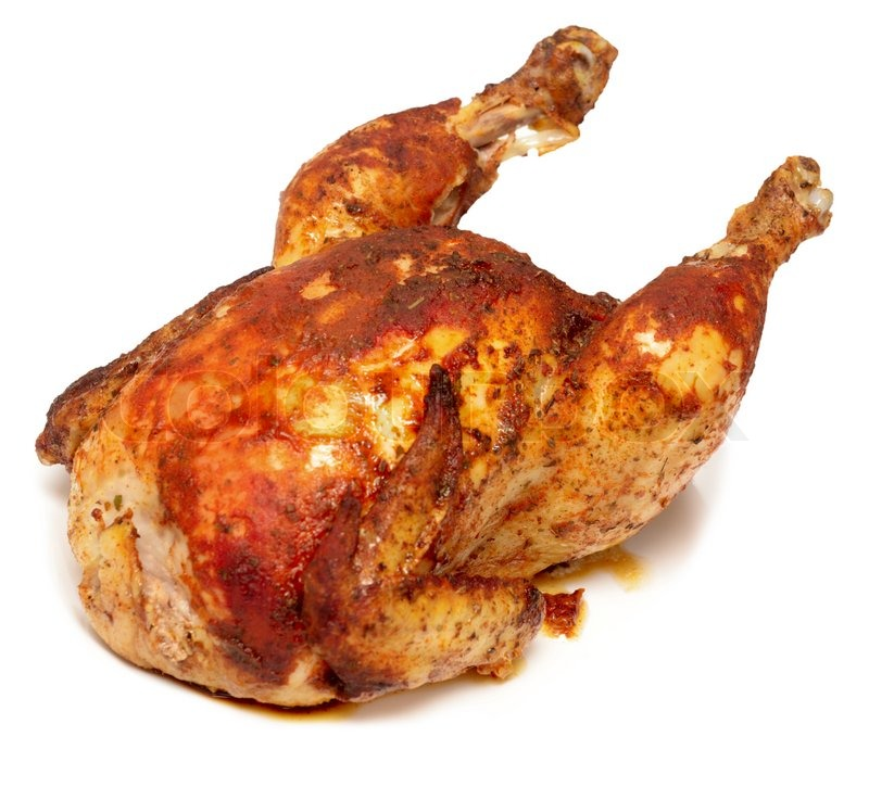 Roasted Chicken Isolated On White Stock Photo Colourbox