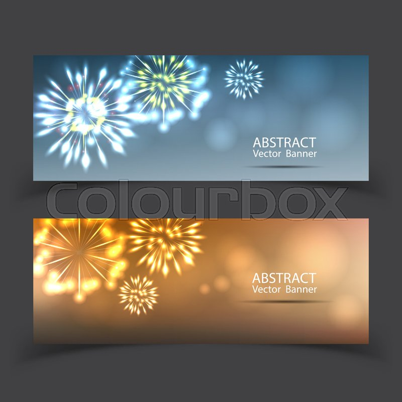 fireworks on twilight banner background vector firework new year holiday celebration stock vector colourbox