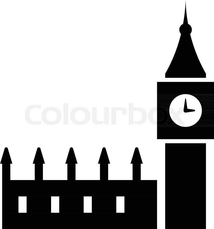 Glyph London England Big Ben Pixel Stock Vector Colourbox