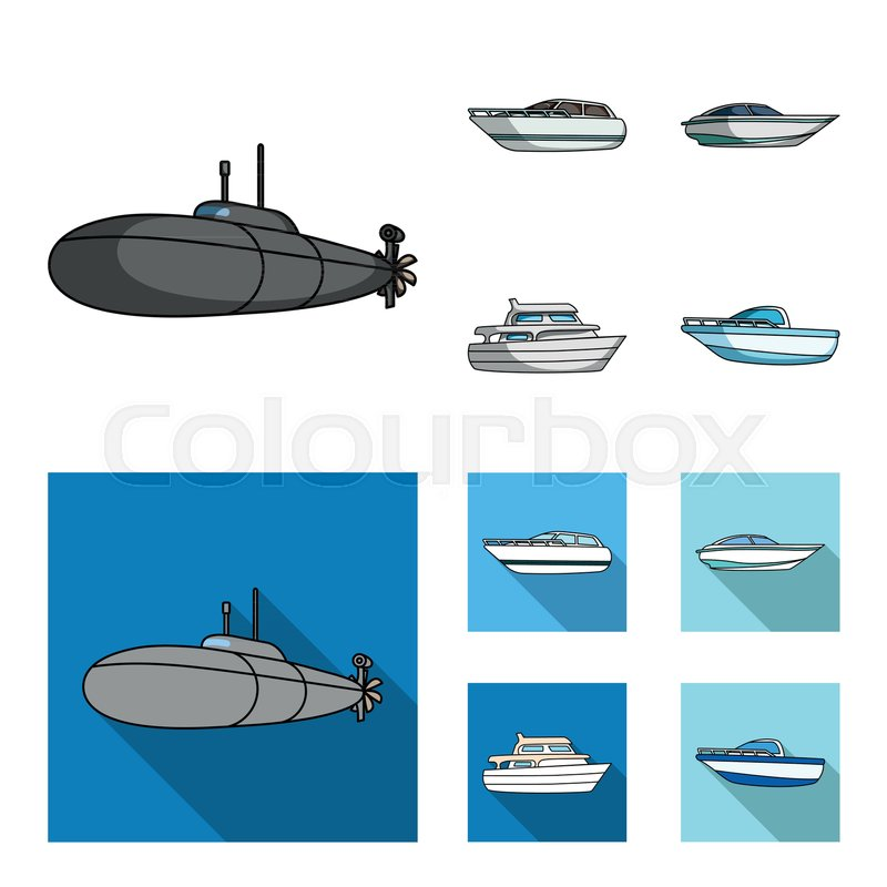 A Military Submarine A Speedboat A Stock Vector Colourbox