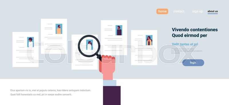 Hand hold magnifying zoom cv resume choosing people candidate for hand hold magnifying zoom cv resume choosing people candidate for vacancy job position recruitment concept flat copy space banner vector illustration altavistaventures Gallery